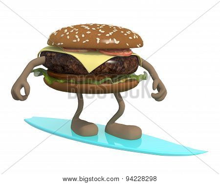 Hamburger With Arms And Legs Surfing