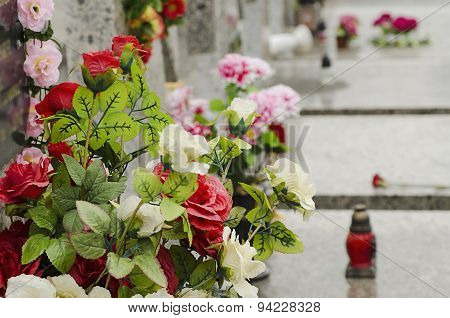 Artificial flowers at the cemetery