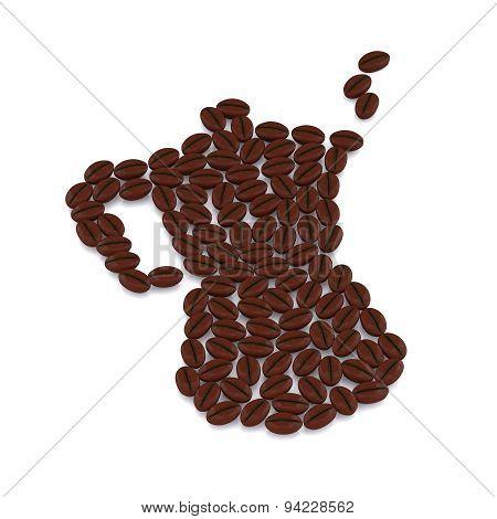 Italian Coffepot With Coffee Beans