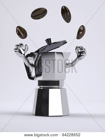 Coffee Pot Juggles With Coffee Beans