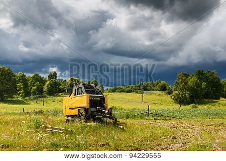 Idle Combine In The Countryside