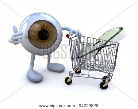 Eye With Arms And Legs And Shopping Cart With Eyeglasses