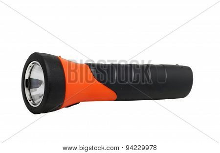 Gray-orange Flashlight On A White Background