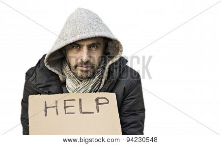 Poor Young Guy With Cardboard Sign Seeking Help