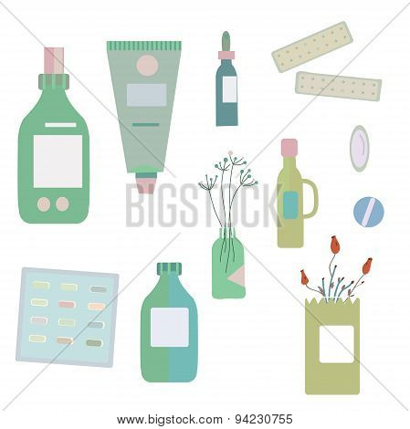 Medical Drugs And Bottles - Illustration For Herbal  Medicine