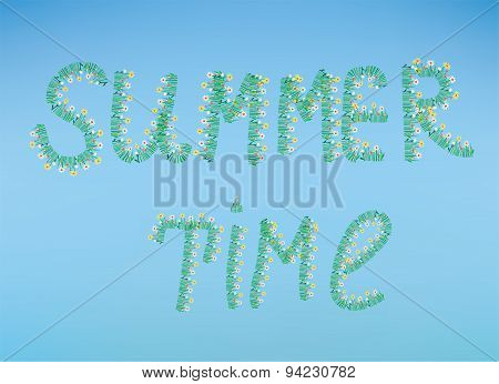 Summer Time Illustration With Flowers And Sky