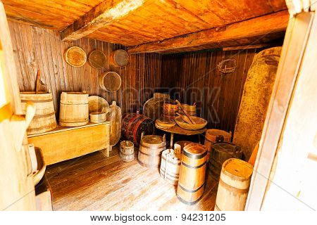 Wooden Interior Of An Old House