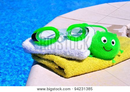 Bath Towels, Goggles, Toy Against Blue Wate