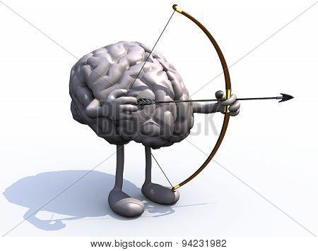 Brain With Arms, Legs, Bow And Arrow