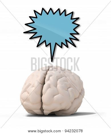 Human Brain With Blue Speech Ballon