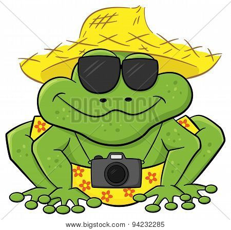 Frog As A Tourist With Camera, Sunglasses And Straw Hat