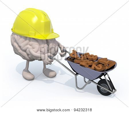 Brain With Arms, Legs And Workhelmet Carries A Wheelbarrow Numbers