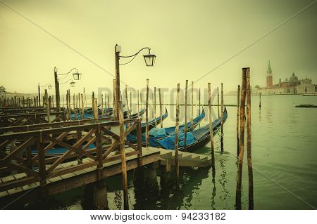 Retro Style Image Of Gondolas At Grand Canal, Venice, Italy