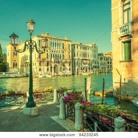 Retro Style Image Of Grand Canal, Venice, Italy