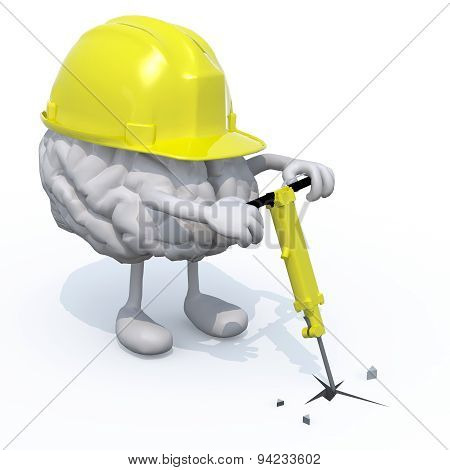 Brain With Arms, Legs, Work Helmet And Jackhamme