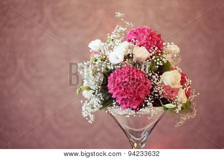 Mix Of Flowers In A Vase
