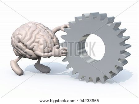 Brain With Arms And Legs Pushing A Big Gear