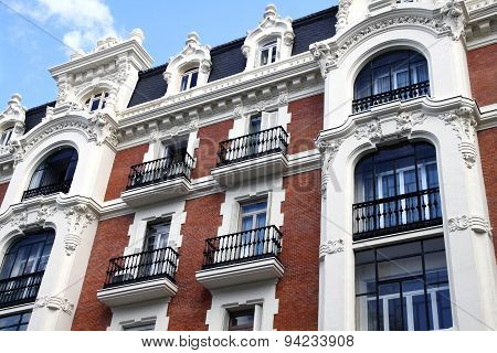 Front Of The House On Gran Via In Madrid