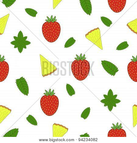 Fruit seamless pattern. Vector illustration. Hand drawn illustration.