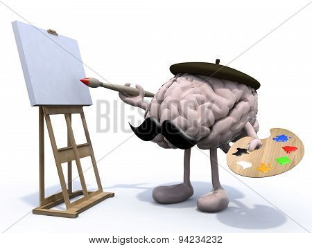 Human Brain With Arms, Legs, Moustache Painter