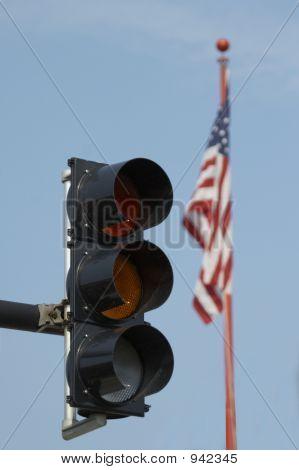 Trafic Light And Usa Flag