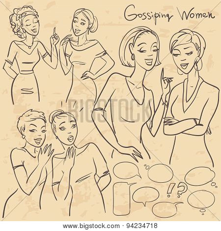 Hand drawn gossiping girls