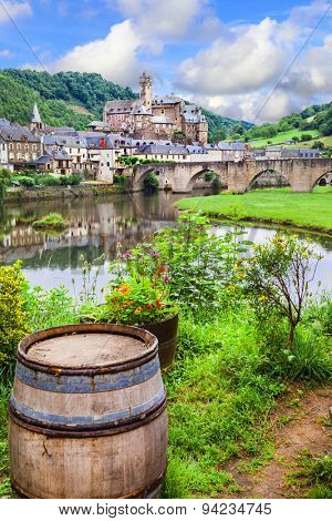 view of medieval Estaing - one of the most beautiful village of