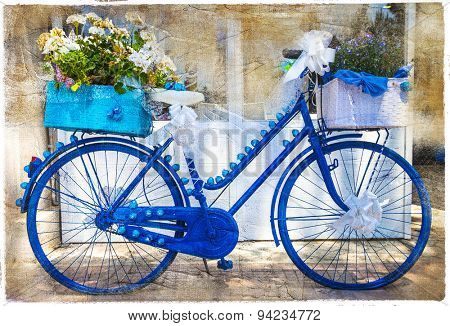 charming streets of italy.Floral bikes, artistic vintage picture