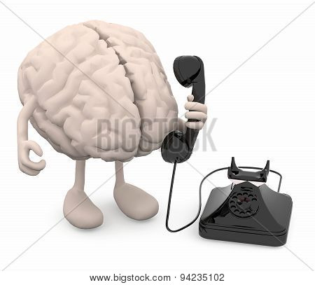 Human Brain With Arms, Legs And Old Phone On Hand