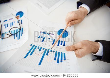 Businessman making financial report at meeting
