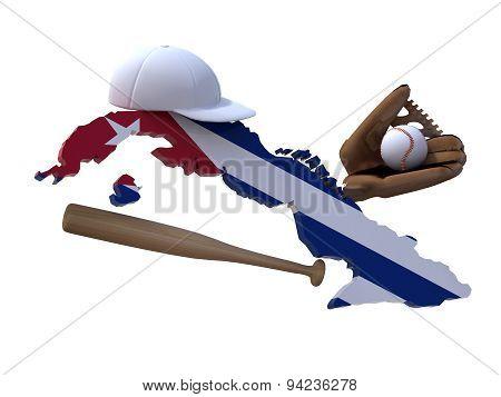 Cuban Map With Flag, Baseball Tools
