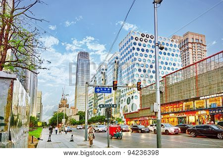 Beijing, China - May 20, 2015: Modern Office And Residential Buildings On The Streets Of Beijing, Tr