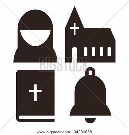 Nun, Church, Bible And Bell Icons