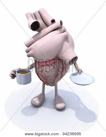 Human Heart And Cup Of Coffee