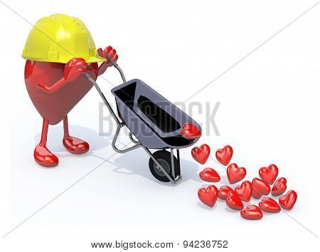 Heart With Arms, Legs And Workhelmet Carries A Wheelbarrow Hearts