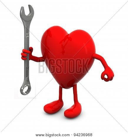 Red Heart With Arms And Legs And Wrench On Hand