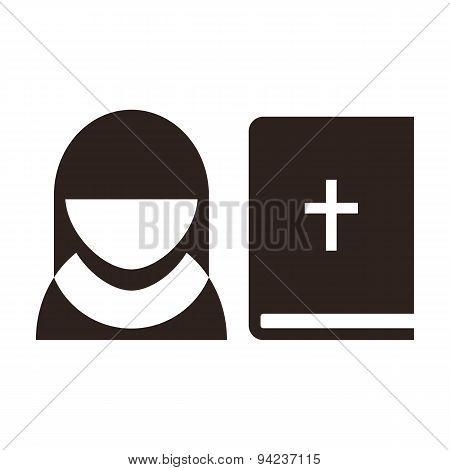Nun And Bible Icon