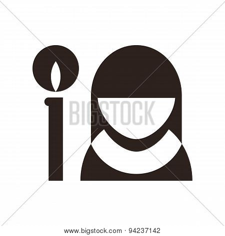 Nun And Candle Icon. Church Symbol