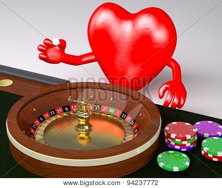 Heart With Arms And Legs Behind Roulette Table In A Casino