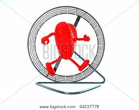 Heart With Arms And Legs In Hamster Wheel