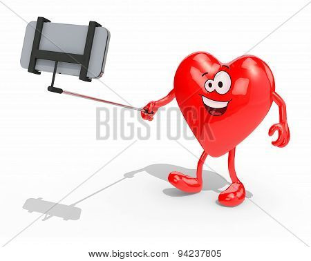 Heart With Arms, Legs And Selfie Stick Take A Self Portrait With Her Smart Phone