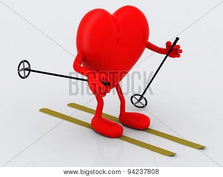 Heart With Arms And Legs, Ski And Stick