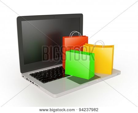 Laptop with shopping bags