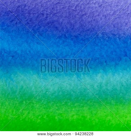 Vector Watercolor Blue, Green And Violet Background