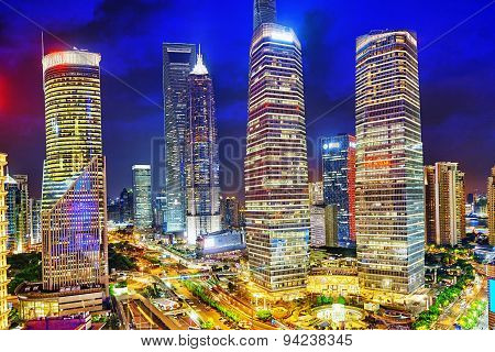 Night View Skyscrapers, City Building Of Pudong, Shanghai, China.