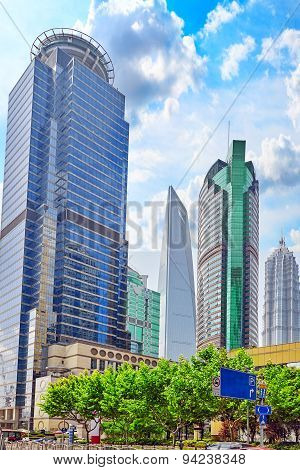 Skyscrapers, City Building Of Pudong, Shanghai, China.