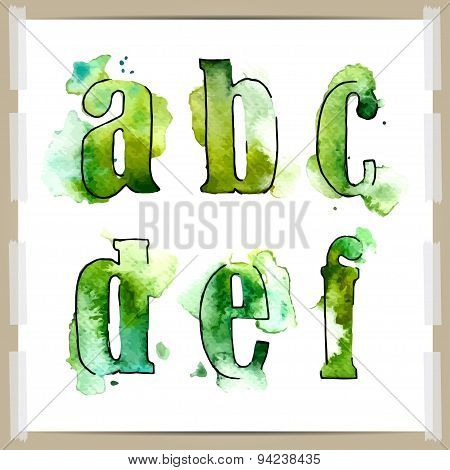Wector watercolor hand-draw colorful alphabet