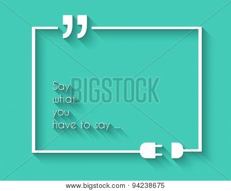 Quotation Mark Frame with Flat style and space for text.