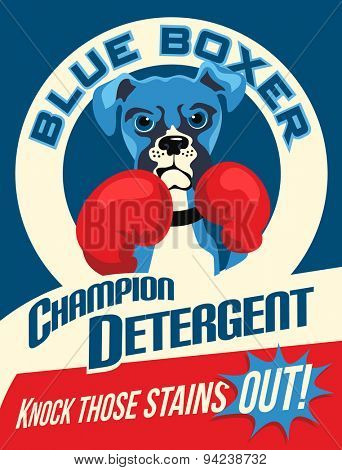 Illustrated poster of a Boxer dog and fictitious laundry soap brand advertisement