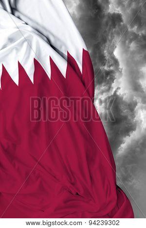 Qatar waving flag on a bad day